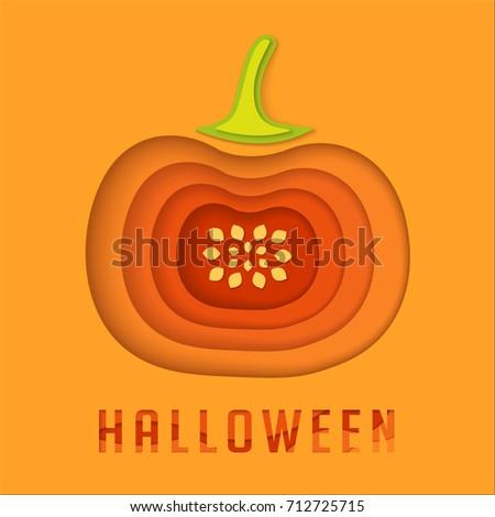 Halloween Paper Pumpkin Origami Background Gift Stock Vector