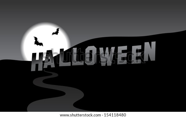 Halloween parody of the Hollywood Hills, black and white vector cartoon illustration