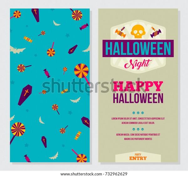 Halloween Part Invitation Card Vector Illustration Stock