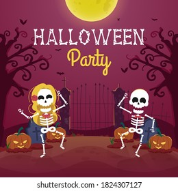Halloween party background with cute skeleton dancing