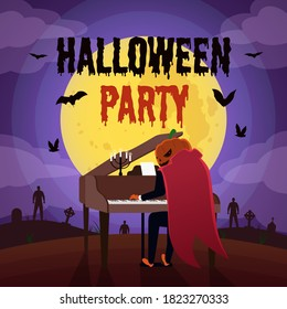 Halloween party background with pumpkin head playing piano