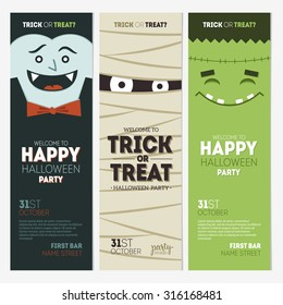 Halloween party banner collection. Vector illustration
