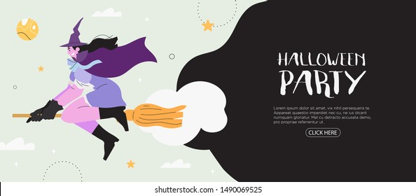 Halloween party banner, flyer, poster,  landing page or blog post with a witch girl flying on a broom. Halloween background with a girl character in a witch costume who fly in a night october night.