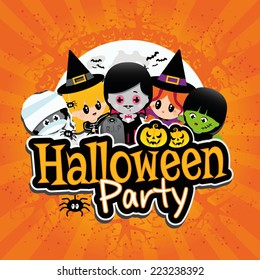 Halloween Party Banner on an orange textured background with children dressed in costumes as dracula, vampire, witches, frankenstein, mummies with pumpkins, spiders, bats and a full moon.