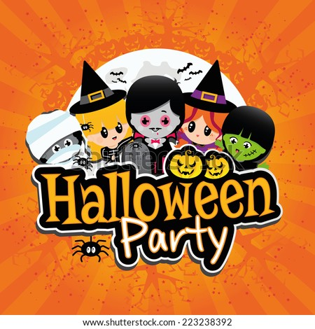 halloween party banner on an orange textured background with children dressed in costumes as dracula