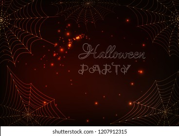 Halloween party banner template with golden glowing spider webs and text on dark brown background. Futuristic design vector illustration.