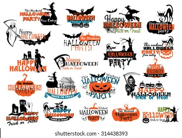 Halloween party banners and headers with pumpkins, skulls, death, bats, ghosts for holiday invitation design