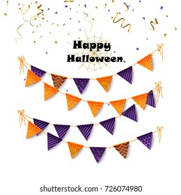 Halloween party banting. Halloween flags and confetti. Vector illustration.