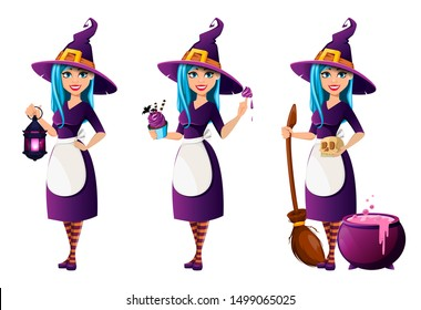 Halloween party. Beautiful lady witch, set of three poses. Vector illustration on white background