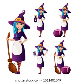 Halloween party. Beautiful lady witch, set of five poses. Cute lady cartoon character. Vector illustration