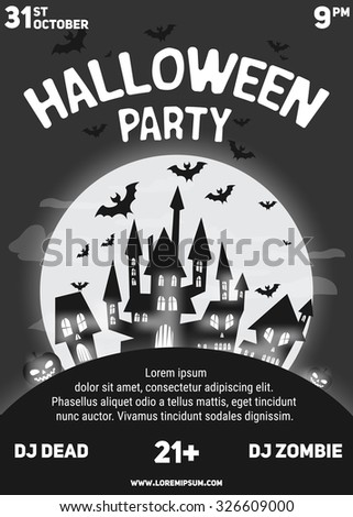 halloween party black white flyer template stock vector royalty