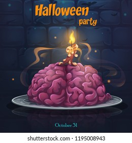 Halloween party - brains on the plate. Bright image to create original video or web games, graphic design, screen savers.