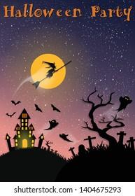 Halloween party card design. vector illustration