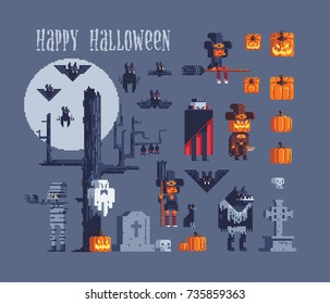 halloween party characters icons set, greeting card pixel art style vector illustration isolated on background