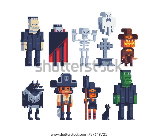 Halloween Party Characters Icons Set Vampire Stock Vector