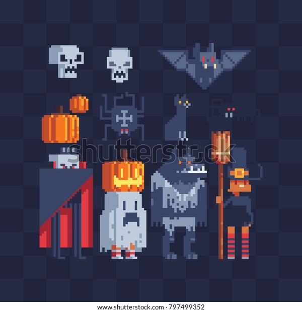 Halloween Party Characters Icons Set Greeting Royalty Free