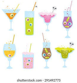 Halloween Party Clip Art with creepy cocktails