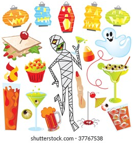 Halloween Party Clip Art with finger sandwich and creepy cocktails, isolated on white