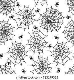 Halloween party decoration spider web seamless pattern with spiderweb and poisonous spider. Vector illustration