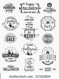 Halloween Party Design Elements and Badges in Vintage Style