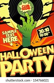 Halloween party design in pop-art style.