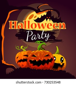 Halloween party design poster, with pumpkins, tree, bat and fool moon.