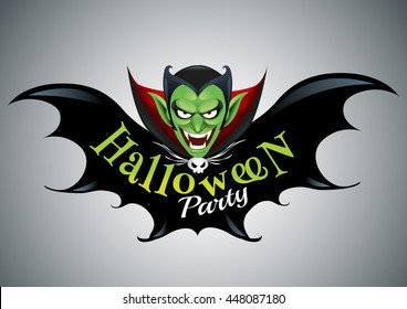 Halloween Party Design template with dracula and place for text logo design.-vector illustration