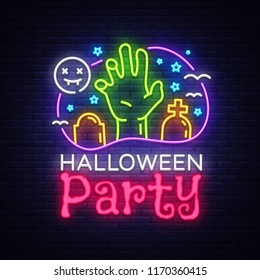 Halloween Party design template vector. Halloween greeting card, Light banner, neon style, night bright advertising. Zombie hand. Vector illustration