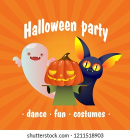 Halloween party festive invitation. Creative lettering with cute bat, boogie and straw man on orange background. Can be used for invitations, greeting cards, posters