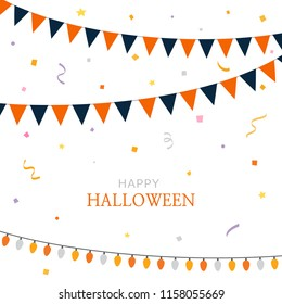Halloween party flags with party confetti