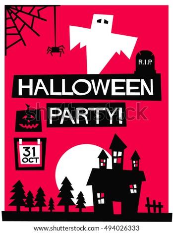Halloween Party Flat Style Vector Illustration Stock Royalty
