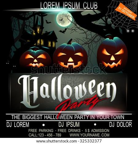 halloween party flier template vector illustration stock vector