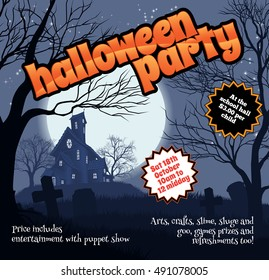 A Halloween party flyer leaflet with a spooky haunted house and graveyard