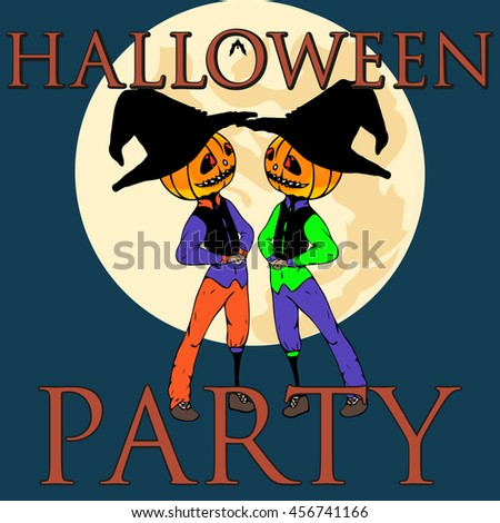 halloween party flyer pumpkins hat witch front stock vector royalty