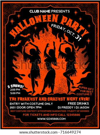 halloween party flyer template witches dancing stock vector royalty