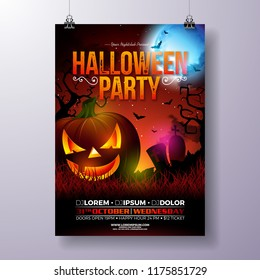 Halloween Party flyer vector illustration with scary faced pumpkin on mysterious moon background. Holiday design template with cemetery and flying bats for party invitation, greeting card, banner or