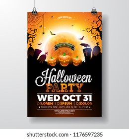 Halloween Party flyer vector illustration with scary faced pumpkin on mysterious moon background. Holiday design template with crow, spiders, cemetery and flying bats for party invitation, greeting