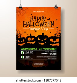 Halloween Party flyer vector illustration with scary faced pumpkins on orange background. Holiday design template with flying bats for party invitation, greeting card, banner or celebration poster.