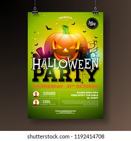 Halloween Party flyer vector illustration with scary faced pumpkin on green background. Holiday design template with crow, spiders, cemetery and flying bats for party invitation, greeting card, banner