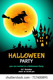 Halloween  party flyer.   Witch  silhouette,  cemetery, castle  and moon background.  Vector  template  for  card or  invitation.