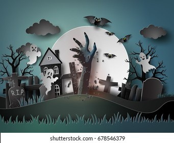 Halloween party with ghost and graveyard in full moon.The illustrations do the same paper art and  digital craft style