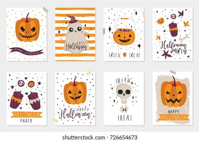 Halloween party, hand drawn modern cards, illustrations collection