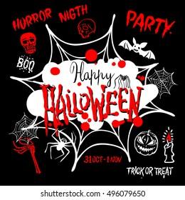 Halloween party. Happy Halloween message design background. Vector illustration EPS 10 art