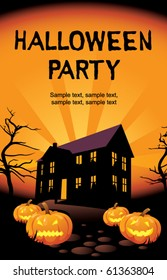 Halloween party at home, invitation card