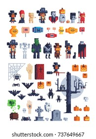Halloween party icons set. Costumed costume kids characters. Pixel art style creatures for retro video games sprites. Vector illustration isolated on background.