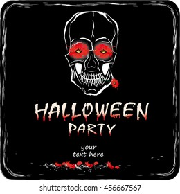 Halloween party illustration with flowers and skull