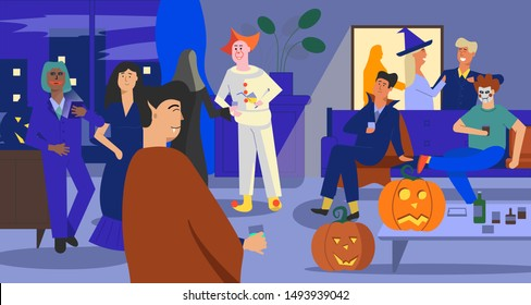 Halloween party. Indoor scene with different characters in costumes. Interior background. Pumpkins around. International event. Flat vector illustration