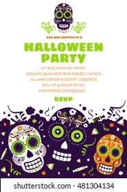 Halloween Party Invitation or Announcement with Day of the Dead Sugar Skulls.