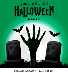 Halloween party invitation banner poster with illustration of graveyard and hand of zombie and night with full moon