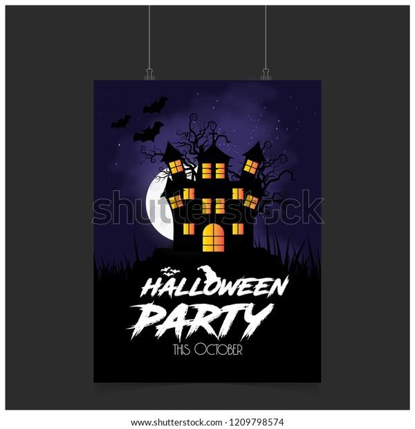 Halloween Party Invitation Card Creative Design Stock Vector ...